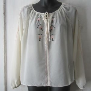 Forever 21 Blouse with an Embroidered Design - S
